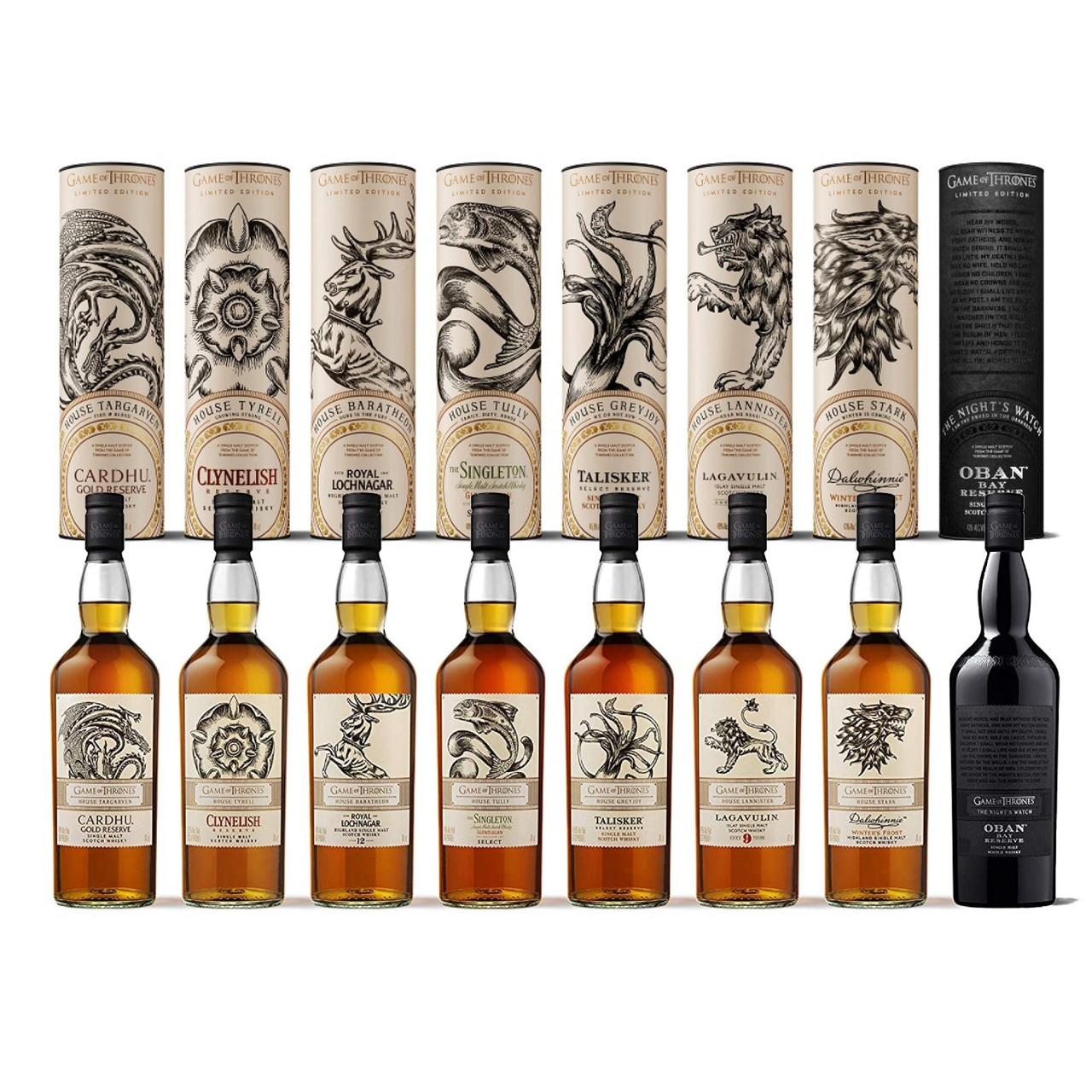 Game of Thrones 'Complete Collection Set' of Single Malt Scotch Whiskies! This complete collection set of eight Scotch whiskies has been paired with a particular house from the seven kingdoms including the legendary Nights Watch! Each bottle comes in its own canister with descriptions of each house!