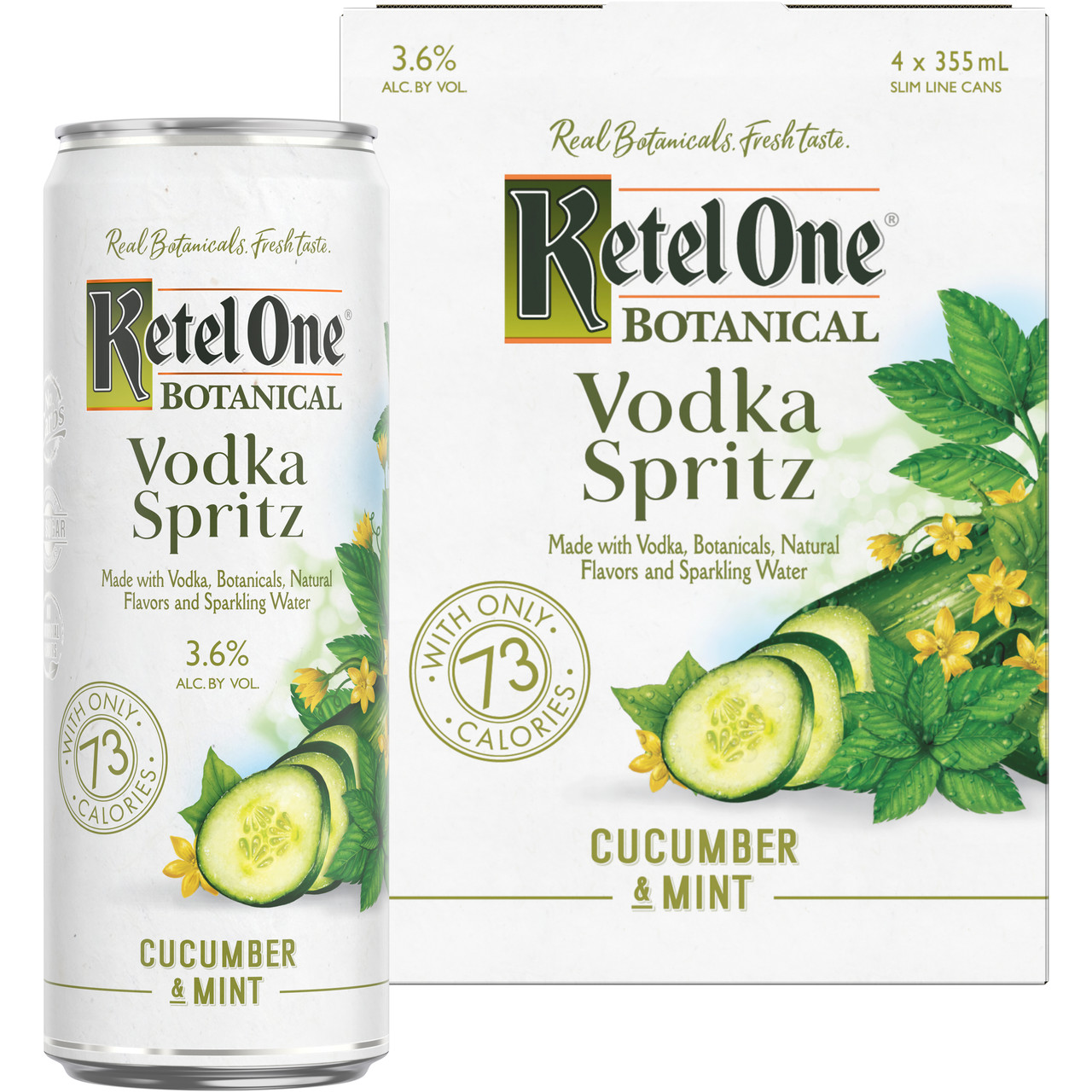Artfully infused with real botanicals, natural fruit essence and sparkling water, Ketel One Botanical Vodka Spritz Cucumber & Mint offers an enticing new way to enjoy vodka. Made with exceptionally smooth, Non-GMO Ketel One Vodka and stored in a slim ready-to-enjoy can, this drink features the crisp taste of sliced cucumber with a hint of refreshing mint. Ketel One Botanical Vodka Spritz Cucumber & Mint is gluten-free and contains no artificial sweeteners, added sugars or artificial colors. Includes one 7.2 proof 12 fl oz can of Ketel One Botanical Vodka Spritz Cucumber & Mint.