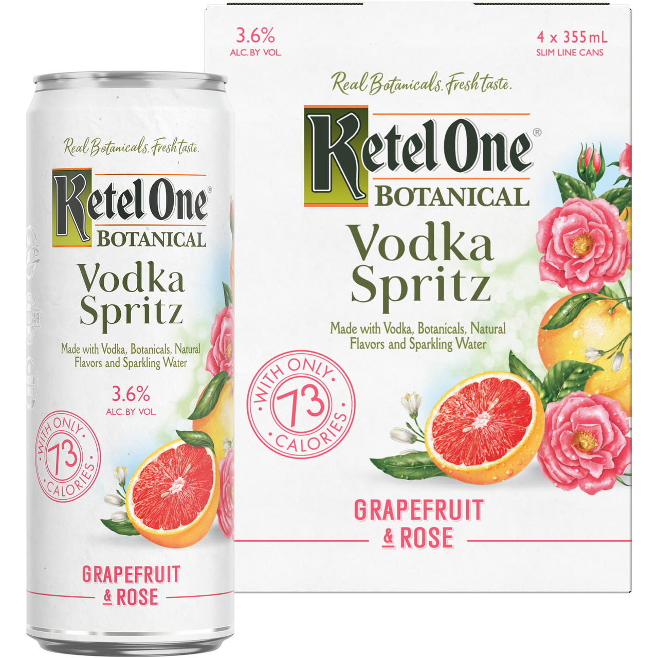 Artfully infused with real botanicals, natural fruit essence and sparkling water, Ketel One Botanical Vodka Spritz Grapefruit & Rose offers an enticing new way to enjoy vodka. Made with exceptionally smooth, Non-GMO Ketel One Vodka and stored in a slim ready-to-enjoy can, this drink features the zesty taste of freshly squeezed grapefruit with a touch of rose. Ketel One Botanical Vodka Spritz Grapefruit & Rose is gluten-free and contains no artificial sweeteners, added sugars or artificial colors. Includes one 7.2 proof 12 fl oz can of Ketel One Botanical Vodka Spritz Grapefruit & Rose.