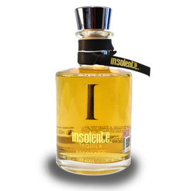 Insolente Reposado tequila is mild with a note of vanilla, chocolate, wood and cooked agave. Aged 11 months.