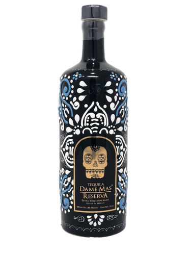Dame Mas Reserva Extra Anejo Tequila is made from 100% Blue Agave. The tequila is aged for 5 years in Frenk Oak barrels that were used to age Cognac. This tequila has a super smooth fruity flavor with notes of caramel and hazelnut. Each bottle is a unique piece of art that was hand decorated by Mexican artists.