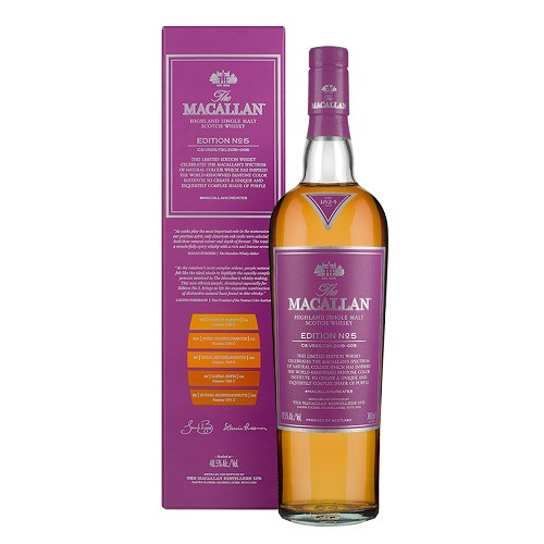 The Macallan Edition No. 5 celebrates The Macallan's extensive natural colour spectrum and the intricate whisky making process, in partnership with masters at the Pantone Color Institute™ to create a unique shade of purple that features on the packaging.