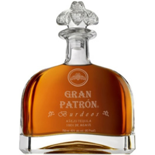 ran Patrón Burdeos is crafted in very limited quantities from the finest 100% Weber Blue Agave grown in the Highlands of Jalisco. Twice distilled and aged in used American and new French oak barrels, it is then finished in vintage Bordeaux wine barrels, which impart a dark amber color and a taste that´s velvety smooth with hints of vanilla and raisins.