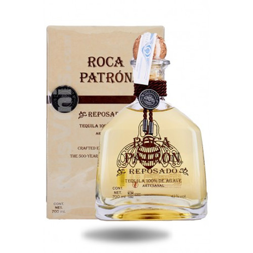 Roca Patrón Reposado is an artisanal, handcrafted ultra-premium tequila, produced in small batches entirely from the age-old tahona process.  After distillation, Roca Patrón Reposado is aged for five months in American oak bourbon barrels and specifically finished at 84 proof to create a complex and balanced tequila with an oaky, sweet agave flavor.