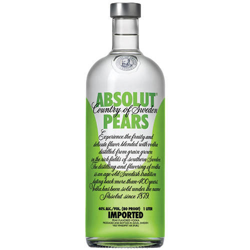 The juicy ripened character of Absolut Pears is fruity in flavor, and is exceptionally smooth. Its distinctly pear aroma and taste calms the palate with a hint of freshness.