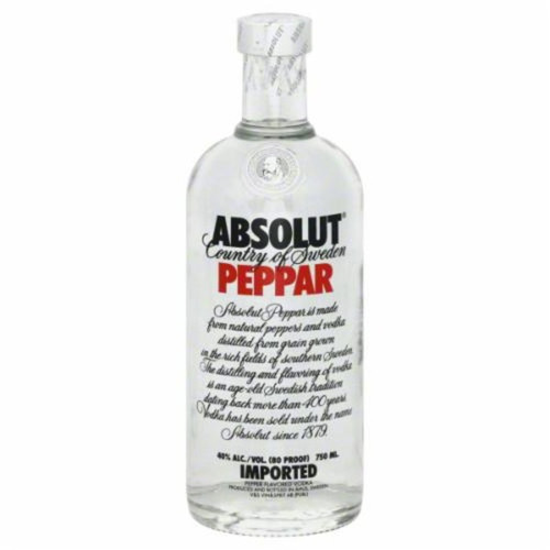 The warmth of Absolut Peppar welcomes with a pleasantly spicy character of green bell pepper and jalapeno. Its complex and smooth taste is subtly sweet and enhanced with a hint of bold black peppercorn flavor.
