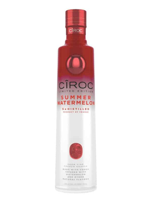 Cîroc Summer Watermelon is a rich tasting spirit made with vodka five times distilled from fine French grapes, finished in a tailor-made copper pot still in Southern France. The vodka is masterfully infused with a distinctive blend of Summer Watermelon and other natural flavors, resulting in a taste experience that is lusciously different and elegantly smooth.