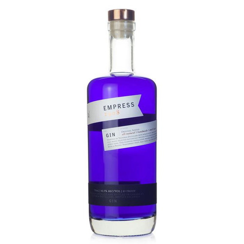 Empress 1908 Gin is 100% authentic and all natural. It is made with 8 botanicals. This gin is infused with vibrantly tinted butterfly pea blossom, adding a singularly distinct expression- an impossibly lush and vivid indigo blue.