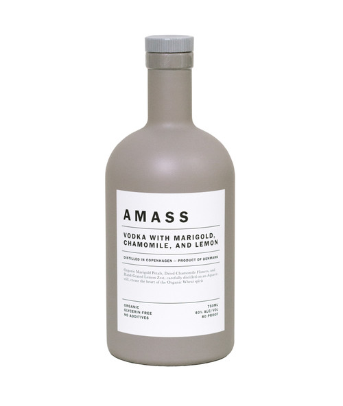 Distilled in Copenhagen on an Aquavit still, AMASS Vodka with Marigold, Chamomile, and Lemon celebrates Nordic distilling tradition and the rich, vibrant history of Scandinavian drinking culture.