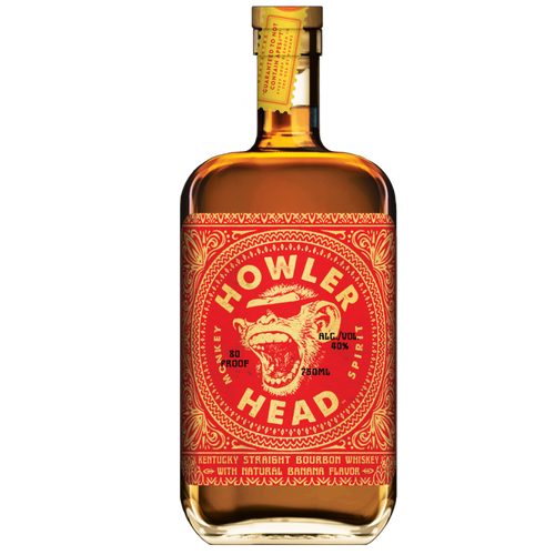 Howler Head Banana Infused Kentucky Straight Bourbon Whiskey is blended with only the finest Kentucky Straight Bourbon Whiskey we could get our paws on. You've got a kick of oak, a nice whirl of sweetness, & some straight from the jungle Bananarama awesomeness.