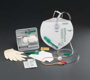 100% Silicone Center-Entry Drainage Bag Foley Catheter Tray 14 fr 5 cc (Sold by the Case of 10)
