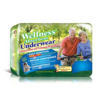"""Wellness Absorbent Underwear, Medium 19"""" to 30"""" Waist Sold by Pack(age) of 18"""
