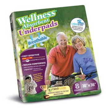 """Wellness Absorbent Underpads Size 30"""" x 36"""" Sold by Pack(age) of 8"""