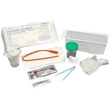 Nurse Assist Lidded Foley Catheter Tray with 30mL Syringe, PVP Swabstick, Underpad, Vinyl Gloves, Sterile
