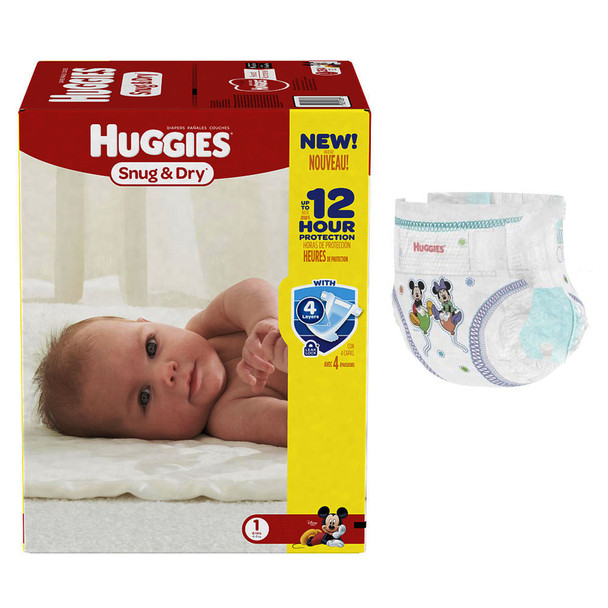 44 Count HUGGIES Snug /& Dry Diapers Size 1