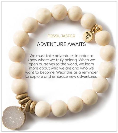 Fossil Jasper Stretch Bracelet with Druzy