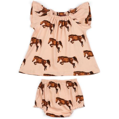 Dress and Bloomer Set Horse 6-12 months