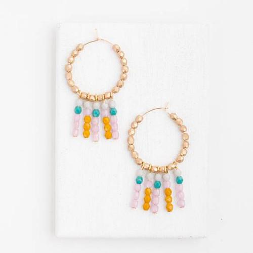 Gold Bead Hoop Earring