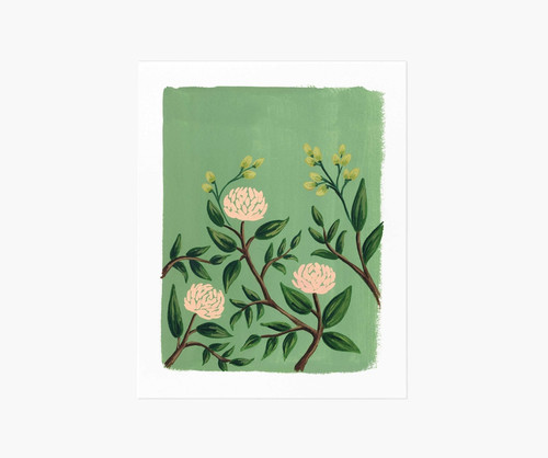 Painted Peonies Emerald Art Print 8x10