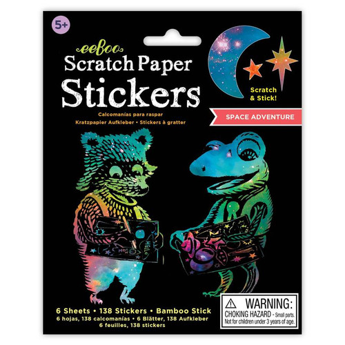 Space Adventures Scratch Paper Stickers