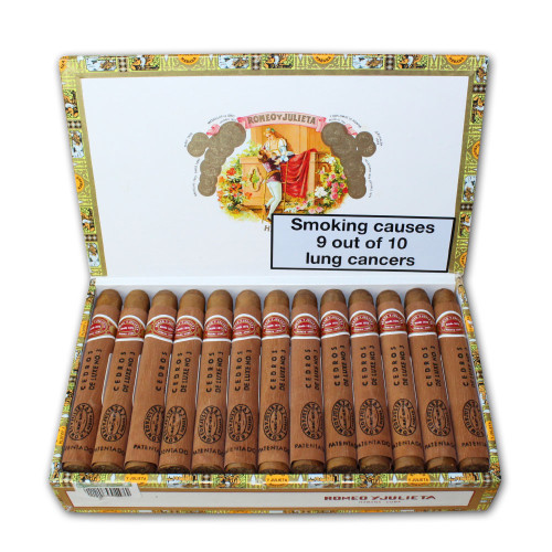 BRAND: ROMEO Y JULIETA DESCRIPTION: CORONITAS EN CEDRO PACK CODE: CB-UW-n-12,13-CW-25  PACK: Current Box CIGARS BY PACK: 25  TYPE: Premium Standar INDIVIDUAL PACKING: Cedar wrap  MANUFACTURING: Hand made ORIGIN: Cuba  FACTORY NAME: PETIT CETROS RING GAUGE: 40  WIDE (mm): 15.87 LENGTH (mm): 129