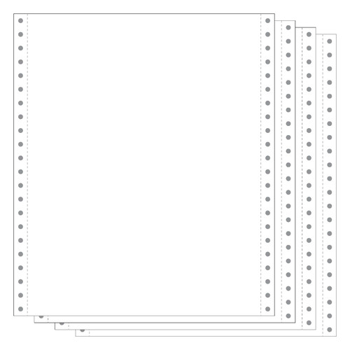 """White 4-Part Carbonless 9.5x11"""" 15# Blank Continuous Form"""