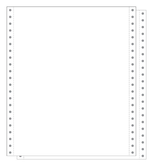 """White 2-Part Carbonless 9.5x11"""" 15# Blank Continuous Form"""