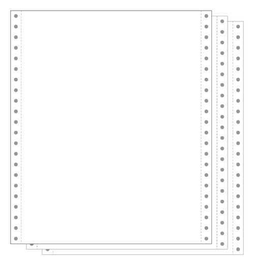 """White 3-Part Carbonless 9.5x11"""" 15# Blank Continuous Form"""