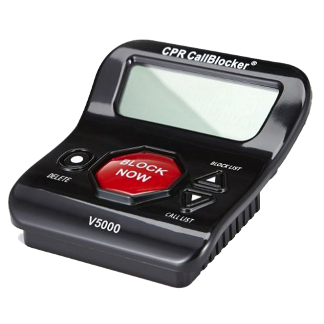 V5000 Call Blocker - Side View - Large 'Block Now' button with additional functionality buttons and 3 inch screen