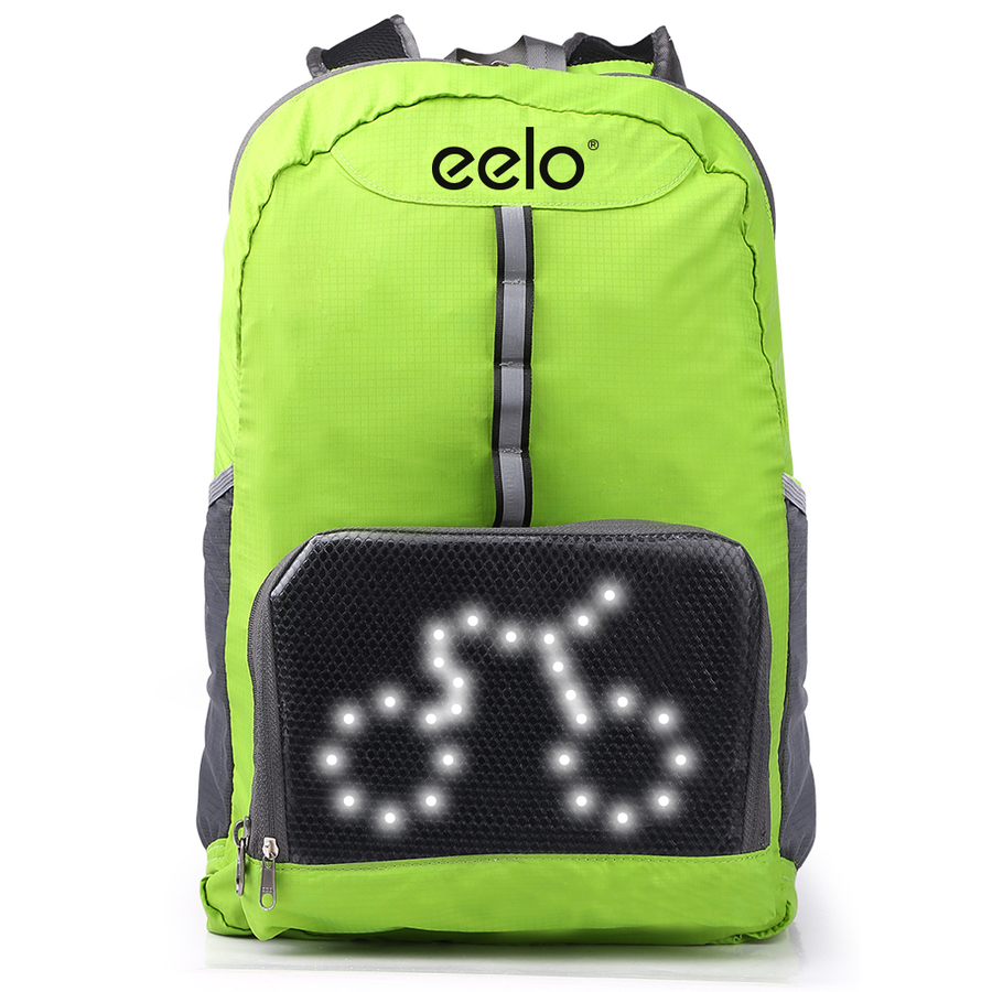 eelo Cyglo (GREEN) - The Ultimate Outdoor Cycle Backpack for Full Visibility and Awareness. Keeping the Rider Safe from Careless Drivers. Safety Back Pack with Rear LED Signal Display