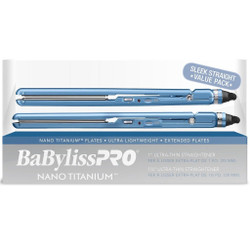 "BaByliss PRO Nano Titanium 1"" and 1.5"" Ultra Thin Straightener 2pc Combo Set"