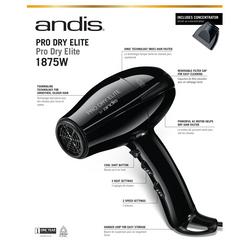Andis Pro Dry Elite Tourmaline Ionic 1875W Hair Dryer #84025