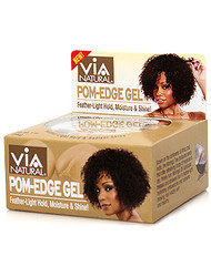 Via Pom-Edge Gel Moringa & Argan Oils Feather Light Hold & Shine 2 oz