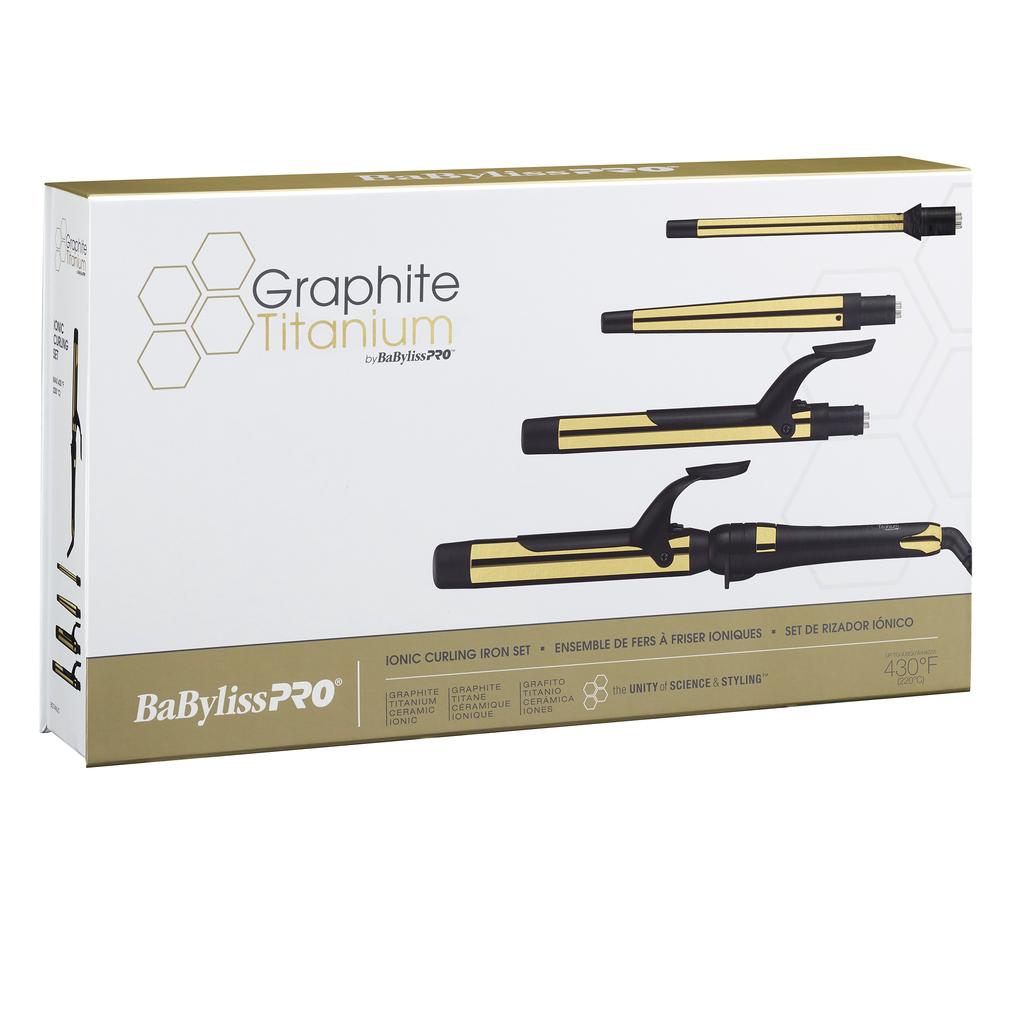 BaByliss PRO Graphite Ionic Curling Iron Set - 4 pcs