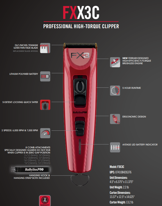 BaByliss Pro FX X3 High-Torque Clipper - Red/Black