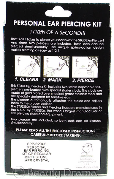 Studex Personal Ear Piercing Kit with Studs April Stone