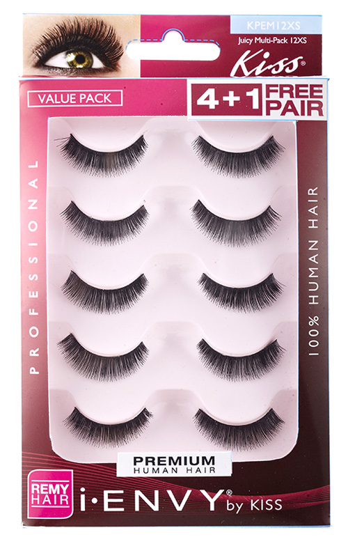 Kiss i ENVY Value Pack Human Hair Eyelashes-Juicy Volume, KPEM12XS