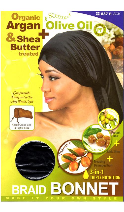 M&M HeadGear Qfitt Argan, Olive Oil, Shea Butter Treated Braid Bonnet