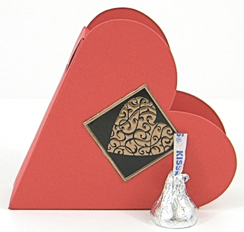 Small Heart Box shown in Shimmering Red. Foil Seal not included.