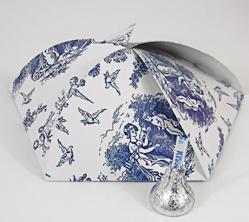 Pentagon Box shown in Blue Toile patter.