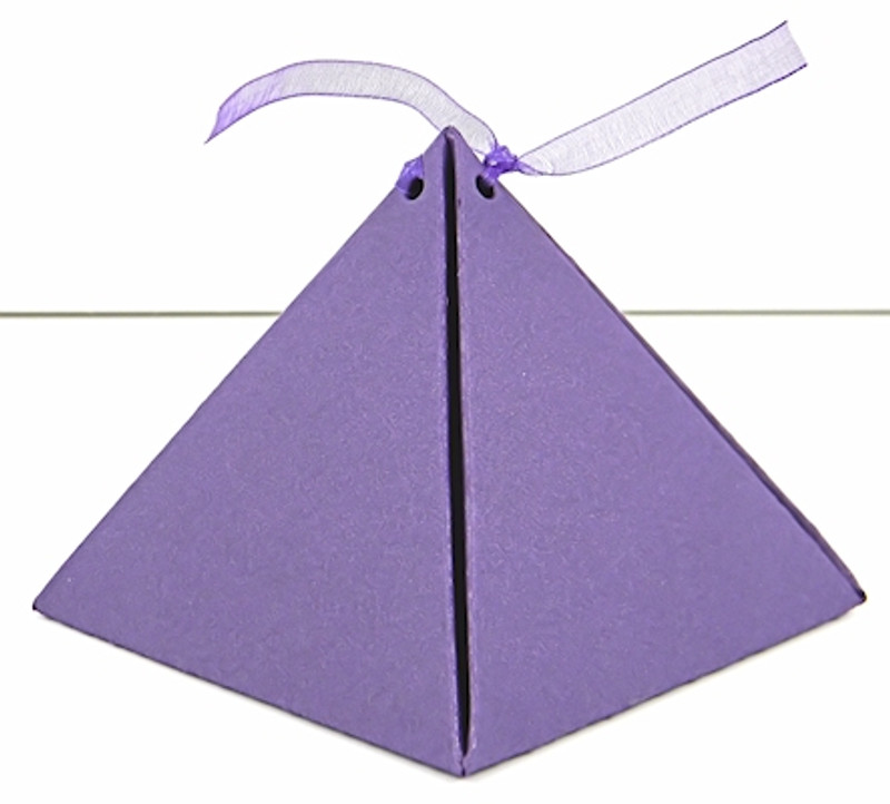 Small Pyramid Box shown in Shimmering Purple. Ribbon not included.