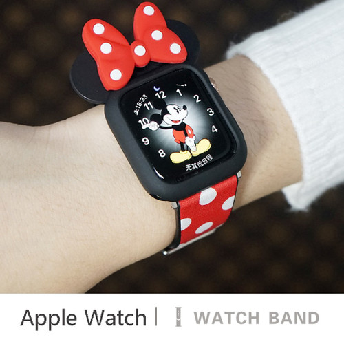 Minnie Mouse Inspired Apple Watch band With Bow Watch Face