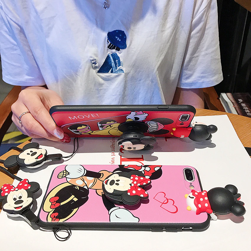 Mickey Mouse Phone Case with strap and Popsocket
