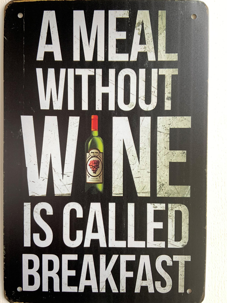 TS_D3020-157 | A Meal Without Wine Breakfast | Vintage Tin Sign