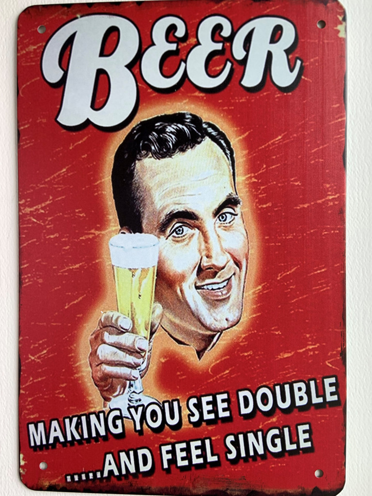 TS_3020-573 | Beer Makes You See Double and Feel Single | Vintage Tin Sign
