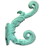 HK2545GRD_IC | 6 pcs. | Authentic Classic Cast Iron Antique Replica | Decorative Wall / Coat / Hat / Hook w / Aqua Green Distressed Aged Patina ( 6 Hooks pkg. )