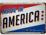 TS_D 3020-215 |  MADE IN AMERICA THE LAND OF THE FREE | Vintage tin sign