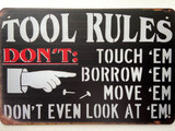 TS_D3020-221 | Tool Rules Don't Touch | Vintage tin sign
