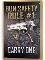 TS_2020-07-07-14 | Gun Safety Rule # I / Carry One | Vintage Tin Sign
