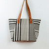 Black & White Tote with Leather Straps